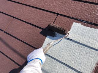 仕上げ塗料をローラーを使用で塗布