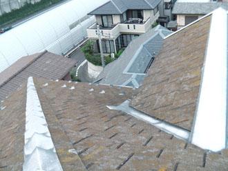 横浜市緑区 屋根カバー工事 屋根点検 苔 色褪せ