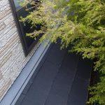 屋根の上に木が覆いかぶさっている