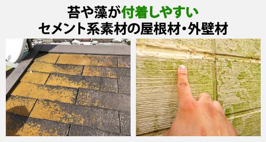 苔や藻が付着しやすいセメント系素材の屋根材・外壁材