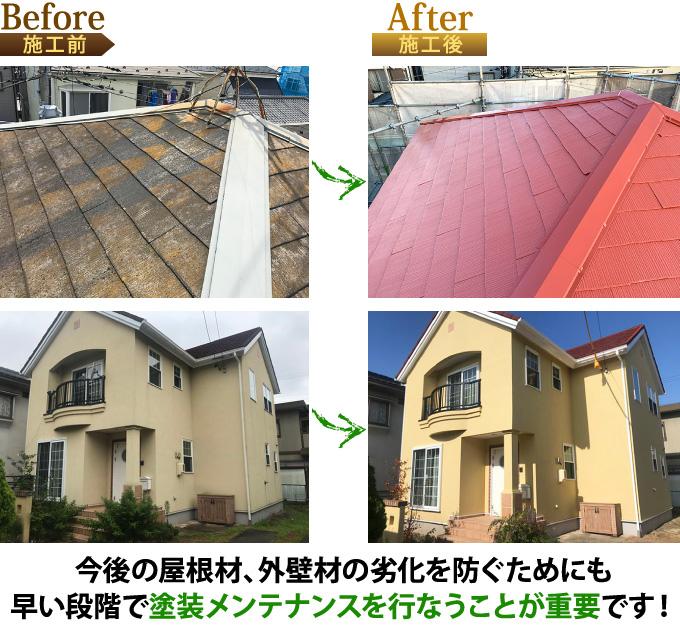 今後の屋根材、外壁材の劣化を防ぐためにも、早い段階で塗装メンテナンスを行うことが重要です!