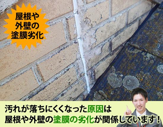 汚れが落ちにくくなった原因は屋根や外壁の塗膜の劣化が関係しています!