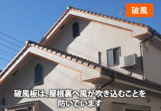 破風板は、屋根裏へ風が吹き込むことを防いでいます