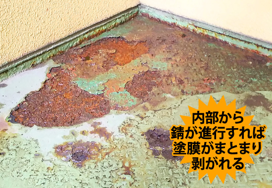 内部から錆が進行すれば塗膜がまとまり剥がれる
