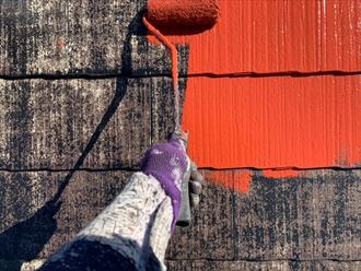 藤沢市辻堂東海岸にてファインパーフェクトベストの赤さび色で屋根塗装工事