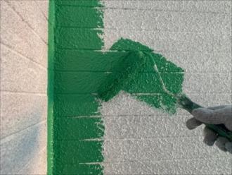茅ヶ崎市常盤町にて外壁塗装、ワイン色からグリーン系へイメージチェンジ