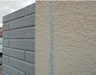 ヒビ部分が補修された外壁