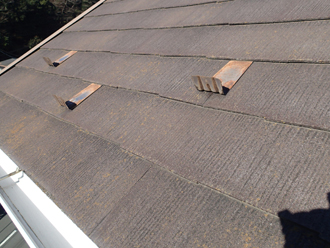 三浦郡葉山町 外壁塗装 屋根塗装 屋根点検 屋根材の色褪せと雪止め金具の錆