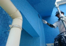 外壁塗装 水色で施工中