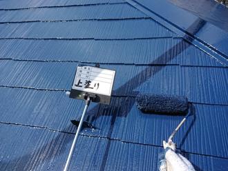 屋根塗装、上塗り工程