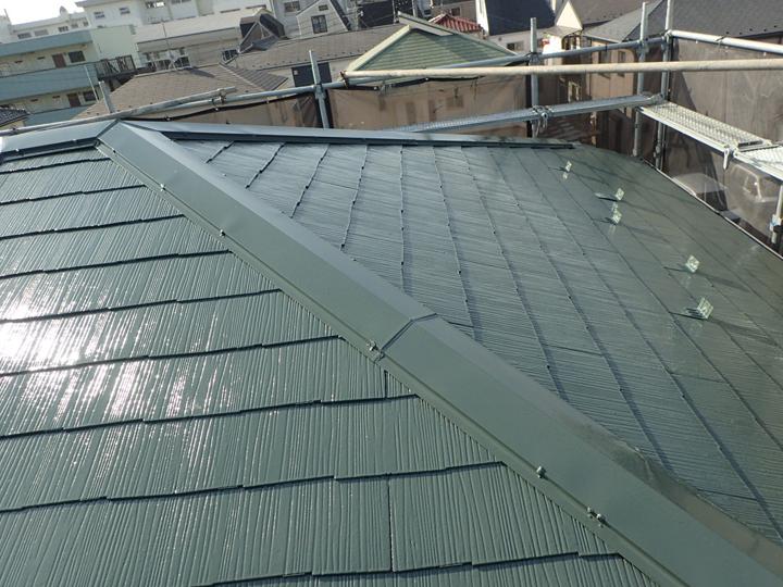 化粧スレートへの屋根塗装完了