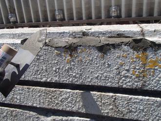 モルタルで欠けた部分を補修