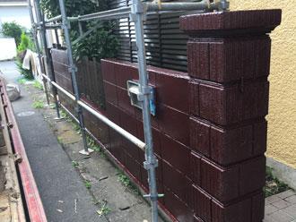 門柱と塀を塗装