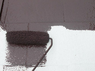 厚木市 屋根塗装 中塗り